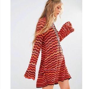 Free People Zig Zag Red Combo Sweater Dress Large